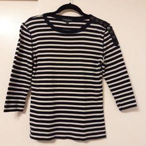 Ralph Lauren Ladies Navy/White Stripe T-shirt M